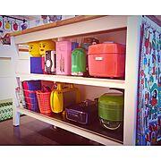 カラフル家電/MITSUBISHI炊飯器/カラフル/LEGO ストレージヘッド/IKEAキッチン…などのインテリア実例