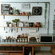 壁紙屋本舗/ブログよかったら見てみて下さい♩/壁紙はりかえ/白タイル壁紙/インダストリアル…などのインテリア実例
