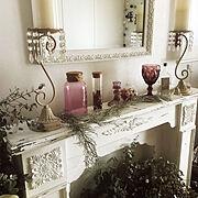 植物/フェイクグリーン/アンティーク/フレンチシック/白家具/キャンドル好き…などのインテリア実例