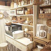 DIY板壁/DIY棚/見せる収納/Kitchen…などのインテリア実例