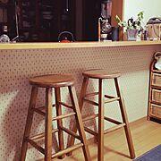 グリーン/コーヒーサイフォン/丸椅子/カウンター/Kitchen…などのインテリア実例