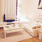ダイソー/6畳/ローラアシュレイ/ホワイト/間接照明/ワークランプ…などのインテリア実例