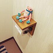 DIY/テブケロ/トイレットペーパーホルダーdiy/Bathroom…などのインテリア実例