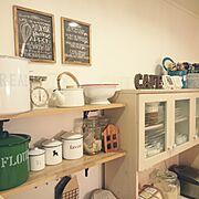 食器棚/ホーローキャニスター/ホーローケトル/ダウンロード素材/Kitchen…などのインテリア実例