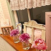 Bathroom/花のある暮らし/カフェカーテン/2019.3.22/フォトスタンド…などのインテリア実例