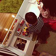 子供/収納/ペイント/ままごとキッチン/キッズスペース/DIY…などのインテリア実例
