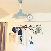 ニトリ/一人暮らし/照明/観葉植物/On Walls…などのインテリア実例