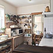 オープン収納/おうちカフェ/見せる収納/ディスプレイ収納/DIY/カフェ風キッチン…などのインテリア実例