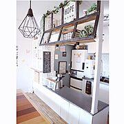 壁紙屋本舗/板壁DIY/ベンチDIY/キセログラフィカ/ラブリコ/メニューボード…などのインテリア実例
