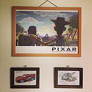 PIXAR/ナチュラル/100均/ピクサー/ポストカード/ディズニー…などのインテリア実例