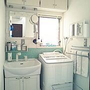 タイルDIY/Panasonic 洗濯機/中古住宅/セルフリフォーム中/5人家族…などのインテリア実例