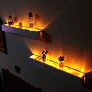 手作り雑貨/セリア/DIY/杉板/作りたい病/LEDケーブルライト…などのインテリア実例