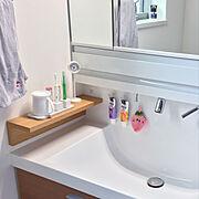 Bathroom/公園の時計/こどもと暮らす。/無印良品 壁に付けられる家具/珪藻土…などのインテリア実例
