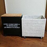壁紙/コンクリート/木箱/DIY/ステンシル/タダの物を♡…などのインテリア実例