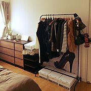 100均/セリア/IKEA/MULIG/ハンガーラック/Bedroom…などのインテリア実例