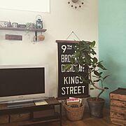 かご/DIY/木のプレート/植物/無垢材/無垢…などのインテリア実例