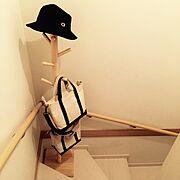 階段/バッグの収納/L.L.Bean/ポールスタンド/北欧/コートハンガー…などのインテリア実例
