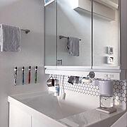 シンプルに暮らしたい/すっきり暮らしたい/ホワイトインテリア/キャンドゥ/Bathroom…などのインテリア実例