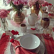Flowers/tablescape/White/Pink/gold/Valentine's Day…などのインテリア実例