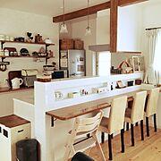 カウンターから見たキッチン/ハンドメイド/照明/リメイク/カフェ風/salut!…などのインテリア実例