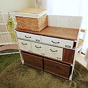 収納棚DIY/収納棚/セリア/かすがい/端材/端材 DIY…などのインテリア実例