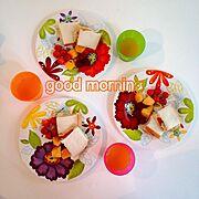 朝はパンが食べたい/サンドイッチ/朝ごはん/コストコ/手作り/IKEA…などのインテリア実例