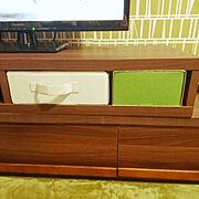 収納/1DK/アクセントクロス/アクセントウォール/緑のラグ/テレビ台…などのインテリア実例
