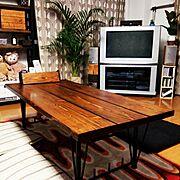 手作り棚/ブラウン管テレビ/足場板/男前化計画/旦那DIY/ダイニングテーブル…などのインテリア実例