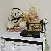 Bedroom/動物モチーフ/キッズスペース/ホワイト×グレー/かすみ草ドライ/ショッパーリメイク…などのインテリア実例