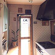 Entrance/壁紙屋本舗/キッチンコンロ周り/セリアリメイクシート/勝手口内ドアDIY…などのインテリア実例