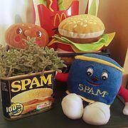 素敵便♡/mayumiちゃん/スパム缶/スパム人形/ハンバーグ/ぬいぐるみ…などのインテリア実例