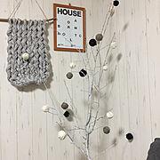 毛糸/クリスマス/シャビーシック/ホワイトツリーハンドメイド/毛糸玉/毛糸玉オーナメント…などのインテリア実例