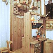 My Shelf/板壁/キッズスペース/おままごとキッチン/おままごとキッチンリメイク/おままごとカフェ…などのインテリア実例