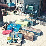工具箱沢山/しゃれとんしゃあ会/小屋の片付け中/錆び錆びの工具箱/Entrance…などのインテリア実例