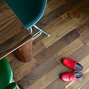 イームズ/バリミ布教委員会/ミッドセンチュリー/ikpチェア/ブラックウォールナット/無垢の床…などのインテリア実例