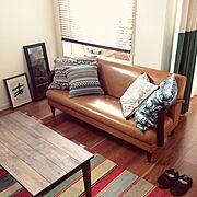 Lounge/ローテーブル/IKEA/ウッドブラインド/ソファ/ニトリ…などのインテリア実例