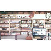 壁一面の本棚のインテリア実例