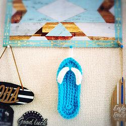 壁/天井/編み編み♡/かぎ針編み♪/編み編みビーチサンダル♡/いいね!コメントありがとうございます☆...などのインテリア実例 - 2018-01-26 07:53:24