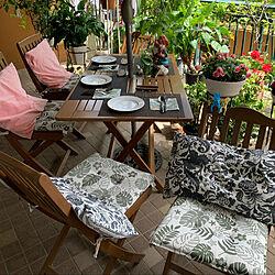 我が家のガーデン少し賑やかに/木のある暮らし/ステイン塗装/テーブルと椅子/イベント参加します...などのインテリア実例 - 2021-09-11 08:25:31