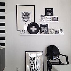 白黒/モノトーン/ポスター/IKEAシェルフのインテリア実例 - 2013-12-01 12:42:09