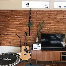 壁/天井/ウッドタイル/unico TVボード/トランポリンカバーは自作のインテリア実例 - 2017-12-18 14:18:29