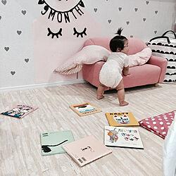 リビング/子供のいる生活/ピンクギンガム/狭い部屋/ピンク...などのインテリア実例 - 2017-08-15 10:54:48