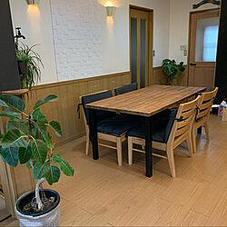一枚板×アイアン/集合材だけど1枚板/一枚板ダイニングテーブル/ダイニングテーブル/エコカラットの壁...などのインテリア実例 - 2021-05-15 13:47:12