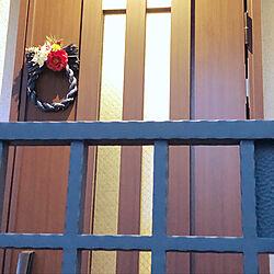 玄関/入り口/アーティフィシャルフラワー/しめ縄リース/しめ縄飾り/お正月...などのインテリア実例 - 2019-01-02 14:17:55