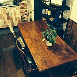 キッチン/ジャーナルスタンダードファニチャー/観葉植物/6人は座れますが、僕はひとりです/今日はコラム。エッセイ?のインテリア実例 - 2014-11-26 00:36:52