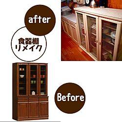 キッチン/チキンネット/タイル張り/食器棚リメイク/DIYのインテリア実例 - 2015-05-19 07:36:37