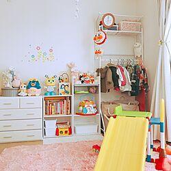 部屋全体/おもちゃ収納/狭い部屋/賃貸/セリア...などのインテリア実例 - 2017-02-01 11:44:12