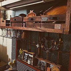 キッチン/吊り棚リメイク/ダイソー木箱リメイク/2018.2.10☪ /ひとり暮らし...などのインテリア実例 - 2018-02-10 18:58:23