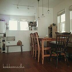 古い椅子/古いベンチ棚/素麺箱/IKEAのダイニングテーブル/朝の1枚...などのインテリア実例 - 2015-03-08 08:20:40