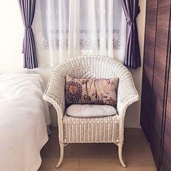 ベッド周り/籐の椅子/パープル/ベッドルーム/紫...などのインテリア実例 - 2018-06-09 20:37:40